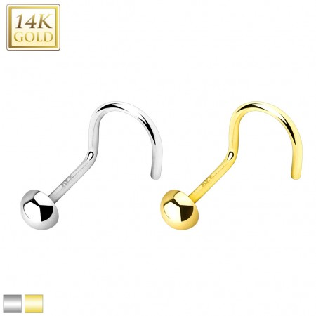 14 Kt. gold nose screw piercing with gold top