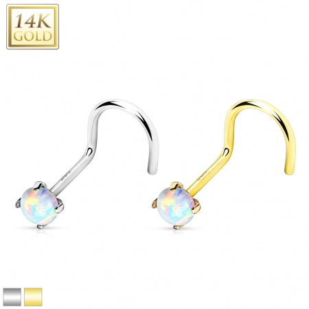 Solid gold nose screw piercing with opal stone