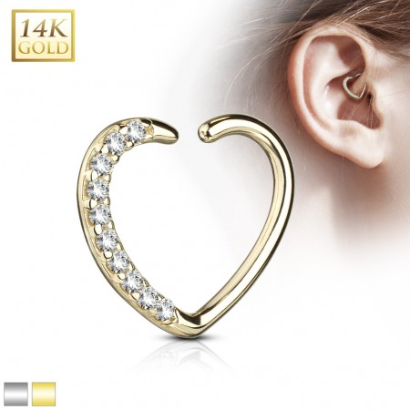 Solid gold earring heart with crystals for right ear