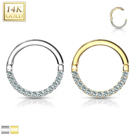 Segment ring of 14 Kt. with attached half segment and crystals