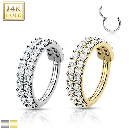 Solid Gold Hinged Segment Ring with Double Crystal Paved Rows