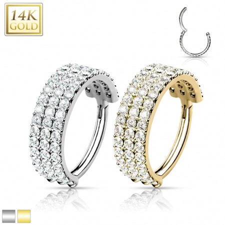 Solid Gold Hinged Segment Ring with Triple Crystal Paved Rows