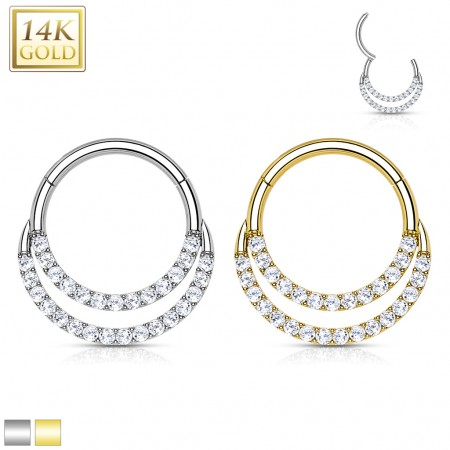 Solid Gold Hinged Segment Hoop with Two Front-Facing lines of Crystal