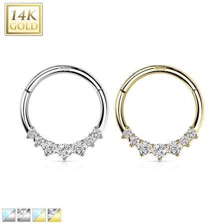 Solid Gold Hinged Segment Hoop with 7 Opal Stones
