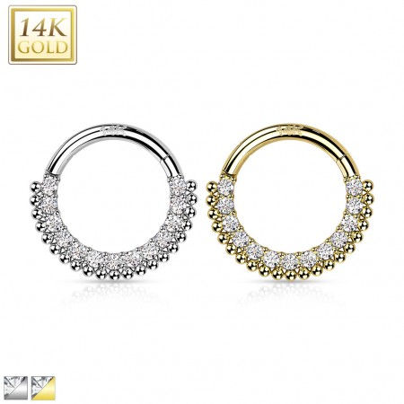 Solid Gold Hinged Segment Ring with Balls and Crystal Paved Front