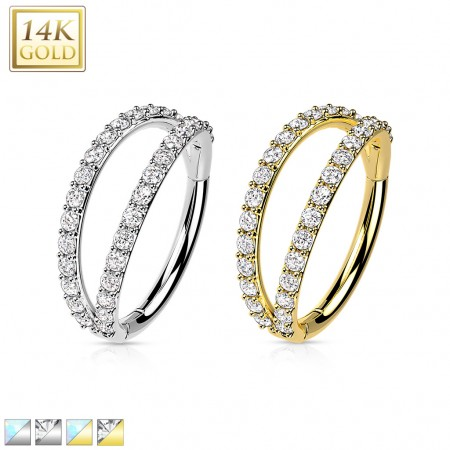 Solid Gold Hinged Segment Ring with Split Crystal Paved Rows