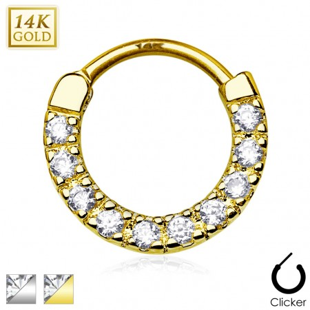 Solid gold septum clicker with row of ten clear crystals