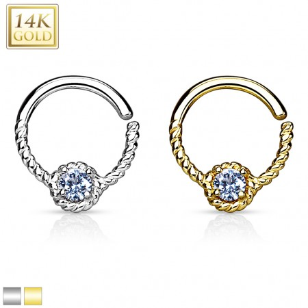 Bendable solid gold septum ring with clear gem