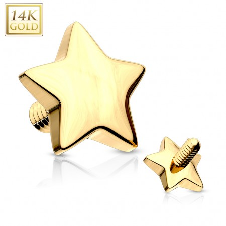Solid gold dermal top with star