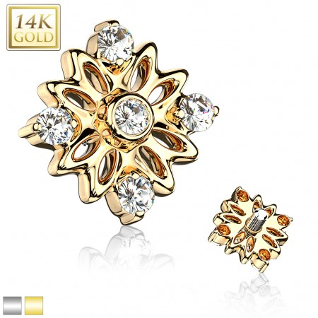 Solid 14kt. gold dermal top with flower and crystals