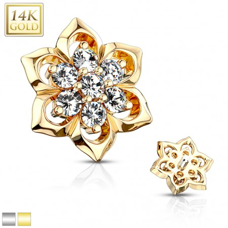 Solid 14kt. gold dermal top with crystals in petal flower