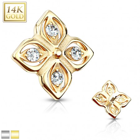 Solid 14kt. gold flower dermal top with crystals in 4 petals