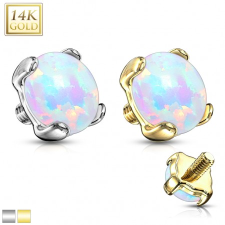 14 Kt. gold dermal top with opal stone
