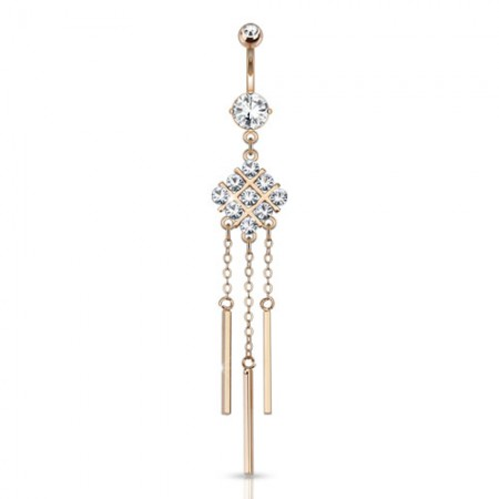 Rose gold plated belly piercing with crystal square