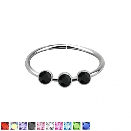 Piercing ring of .925 sterling silver with 3 crystals op top