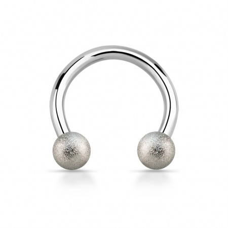Steel circular barbell with silver sand blast balls