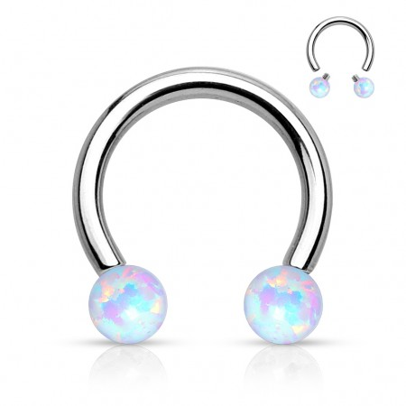 Horseshoe barbell with internally threaded opal beads - 1.2 mm - 8 mm -White
