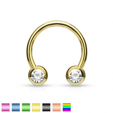 Coloured circular barbell with clear cubic zirconia