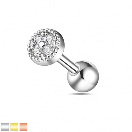Coloured ear piercing with 4 crystals in round top
