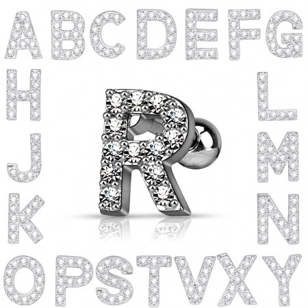 Tragus piercing with crystalized letter