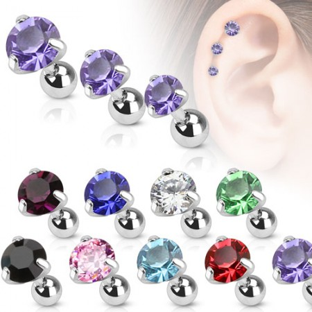 Helix piercing with coloured round crystal