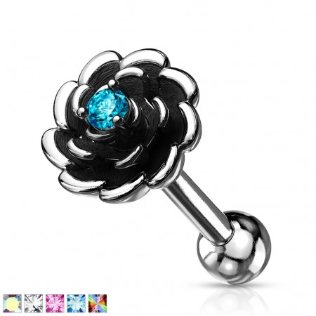 Ear piercing with open flower and coloured crystal