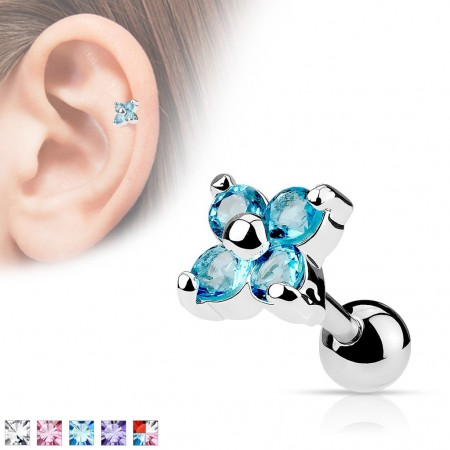 Cartilage piercing with crystal flower