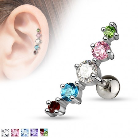 Helix piercing with 5 coloured gems