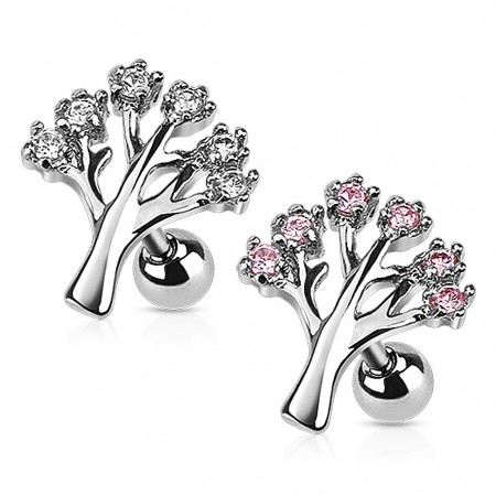 Ear piercing with tree and coloured diamonds