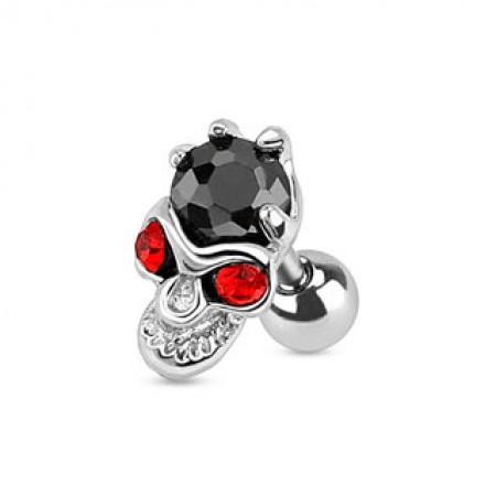Tragus piercing with black crystal on red eyed skull