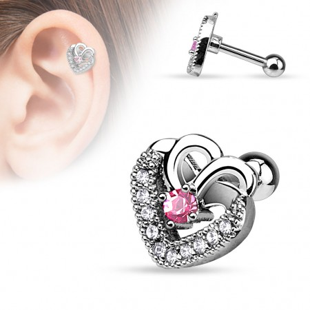 Helix piercing with pink crystal in steel heart