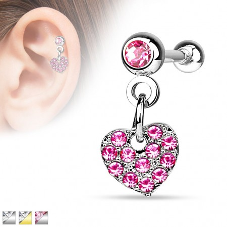 Helix piercing with crystal covered heart dangle