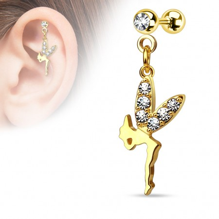 Gold plated helix piercing with fairy as pendant with crystal wings