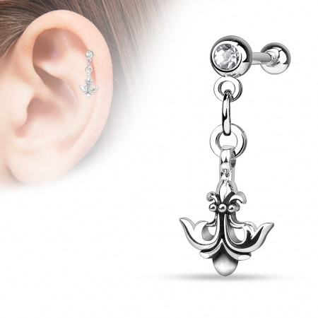 Helix piercing with anchor shaped like Fleur de Lis