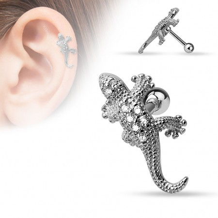 Helix piercing with lizard and clear crystals