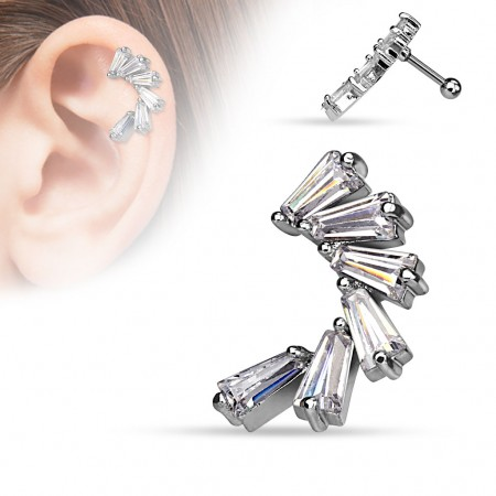 Helix piercing with crescent of Princess crystals