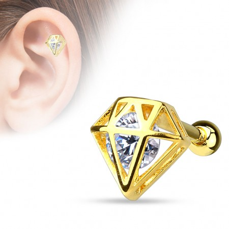 Gold plated helix piercing with clear crystal in gold diamond