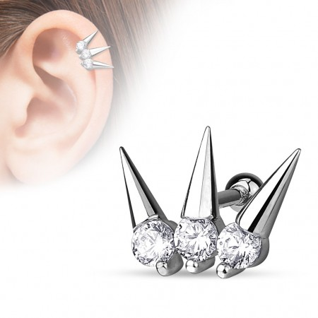 Helix piercing holding three spikes with crystals