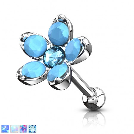 Ear piercing with flower with coloured opal stones