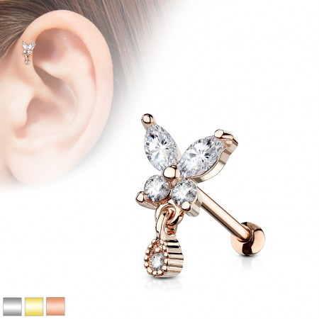 Barbell stud with crystal butterfly and tear drop