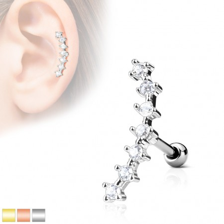 Ear piercing with line of crystals on top