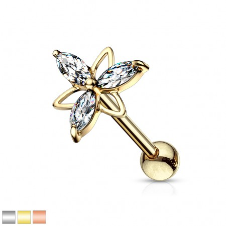 Three marquise clear crystal double triangle flower top stud
