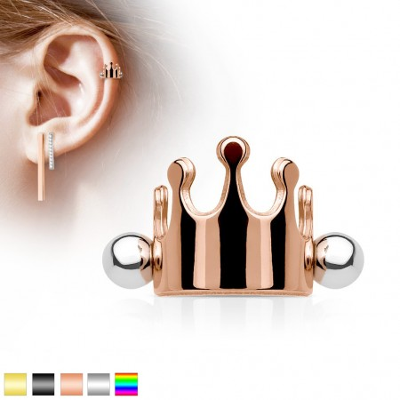 Helix piercing with coloured crown