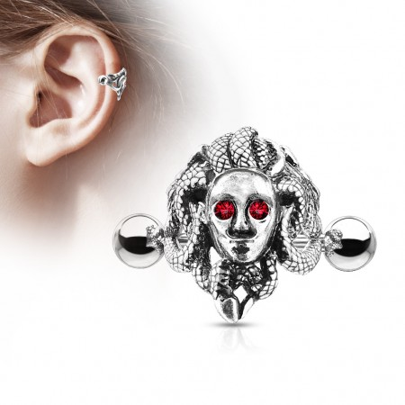 Medusa figure with red crystal eyes cartilage cuff