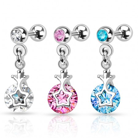 Ear piercings with star and crown on dangling diamond