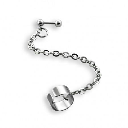 Steel helix clip to tragus piercing chain