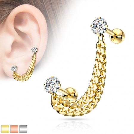 Double cartilage chain with prong set crystals