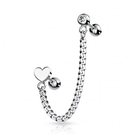 Cartilage chain with crystal barbell and heart top barbell