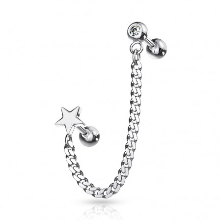 Cartilage chain with crystal barbell and star top barbell