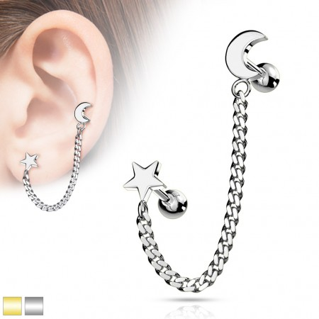 Coloured cartilage chain with star and crescent moon